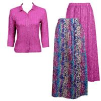 Sets Magic Crush Silky Touch - Blouse / Skirt - Multi Dots Reversible Skirt - Fuchsia Blouse