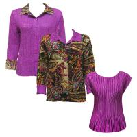 Sets - Reversible Jacket / Mini Pleat Cap - Paisley Plaid Magenta - Solid Orchid