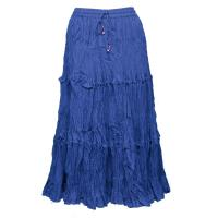 Skirts - Cotton Three Tier Broomstick - Calf Length - Royal