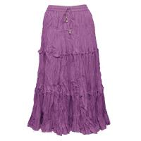 Skirts - Cotton Three Tier Broomstick - Calf Length - Dark Lilac