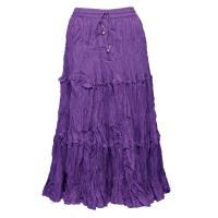Skirts - Cotton Three Tier Broomstick - Calf Length - Purple