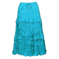 Skirts - Cotton Three Tier Broomstick - Calf Length - Turquoise