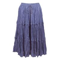 Skirts - Cotton Three Tier Broomstick - Calf Length - Denim