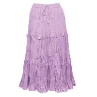 Skirts - Cotton Three Tier Broomstick - Calf Length - Lilac