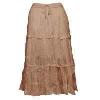 Skirts - Cotton Three Tier Broomstick - Calf Length - Light Brown