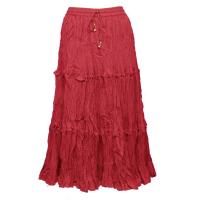 Skirts - Cotton Three Tier Broomstick - Calf Length - Red