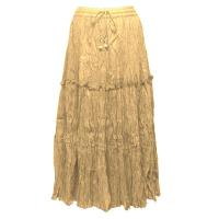 Skirts - Cotton Three Tier Broomstick - Ankle Length - Sand