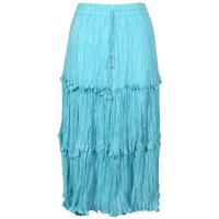 Skirts - Cotton Three Tier Broomstick - Calf Length - Aqua