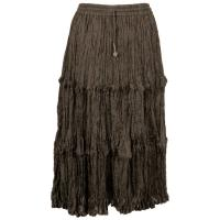 Skirts - Cotton Three Tier Broomstick - Calf Length - Granite