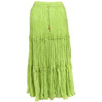 Skirts - Cotton Three Tier Broomstick - Ankle Length - Lime