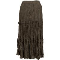 Skirts - Cotton Three Tier Broomstick - Ankle Length - Granite