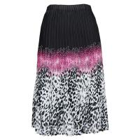 Skirts - Georgette Mini Pleat - Calf Length - Leopard Border Black-Pink