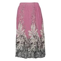 Skirts - Georgette Mini Pleat - Calf Length - Flowers and Dots 2 Dusty Pink-White