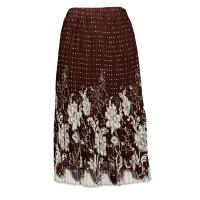 Skirts - Georgette Mini Pleat - Calf Length - Flowers and Dots Brown-Ivory