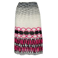 Skirts - Georgette Mini Pleat - Calf Length - Dots Black-White-Pink