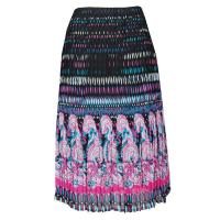 Skirts - Georgette Mini Pleat - Calf Length - Paisley Border Pink-Blue