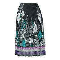 Skirts - Georgette Mini Pleat - Calf Length - Print Border Black-Teal-Purple