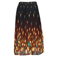 Skirts - Georgette Mini Pleat - Calf Length - Tulips Black-Gold-Teal