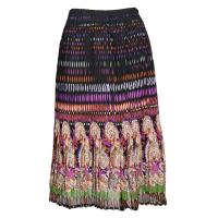 Skirts - Georgette Mini Pleat - Calf Length - Paisley Border Olive-Orchid
