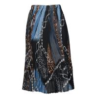 Skirts - Georgette Mini Pleat - Calf Length - Leopard and Beads Blue-Grey-Brown