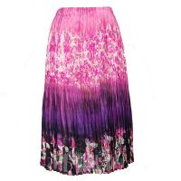 Skirts - Georgette Mini Pleat - Calf Length - Mini Roses Pink-Purple
