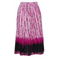 Skirts - Georgette Mini Pleat - Calf Length - Abstract Stripes White-Black-Raspberry