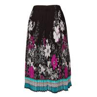 Skirts - Georgette Mini Pleat - Calf Length - Print Border Black-Teal-Pink