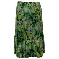 Skirts - Georgette Mini Pleat - Calf Length - Abstract Watercolors - Lime-Black