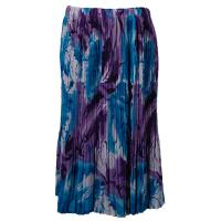 Skirts - Georgette Mini Pleat - Calf Length - Turquoise-Purple Watercolors