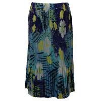 Skirts - Georgette Mini Pleat - Calf Length - Blue-Purple Hawaiian
