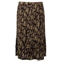 Skirts - Georgette Mini Pleat - Calf Length - Floral Brown-Ivory