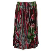 Skirts - Georgette Mini Pleat - Calf Length - Abstract Floral - Pink-Green