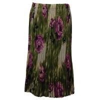 Skirts - Georgette Mini Pleat - Calf Length - Roses Olive-Purple