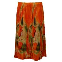 Skirts - Georgette Mini Pleat - Calf Length - Floral Watercolors - Green-Orange