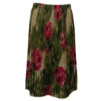 Skirts - Georgette Mini Pleat - Calf Length - Roses Olive-Pink