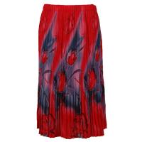 Skirts - Georgette Mini Pleat - Calf Length - Tulips Charcoal-Red