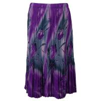 Skirts - Georgette Mini Pleat - Calf Length - Tulips Charcoal-Purple