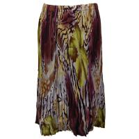 Skirts - Georgette Mini Pleat - Calf Length - Abstract Floral - Eggplant-Gold