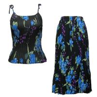 Sets Georgette Mini Pleat - Spaghetti Tank - Black-Blue Floral(SAVE FOR SPRING)