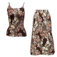 Sets Georgette Mini Pleat - Spaghetti Tank - Chocolate-Ivory Floral