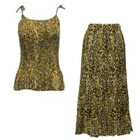 Sets Georgette Mini Pleat - Spaghetti Tank - Leopard Print