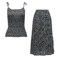 Sets Georgette Mini Pleat - Spaghetti Tank - Polka Dot Black-White