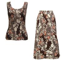 Sets Georgette Mini Pleat - Sleeveless - Chocolate-Ivory Floral