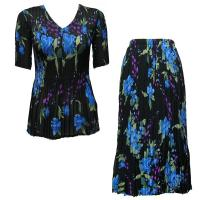 Sets Georgette Mini Pleat - Half Sleeve V Neck - Black-Blue Floral