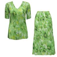 Sets Georgette Mini Pleat - Half Sleeve V Neck - Daisies - Green