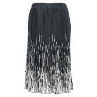 Skirts - Georgette Micro Pleat - Calf Length - Black with White Brushstrokes