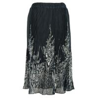 Skirts - Georgette Micro Pleat - Calf Length - V Border Black-White