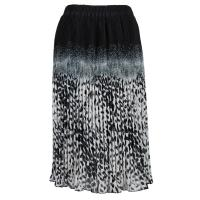 Skirts - Georgette Micro Pleat - Calf Length - Leopard Border Black-Grey