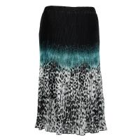 Skirts - Georgette Micro Pleat - Calf Length - Leopard Border Black-Teal