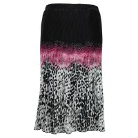 Skirts - Georgette Micro Pleat - Calf Length - Leopard Border Black-Pink